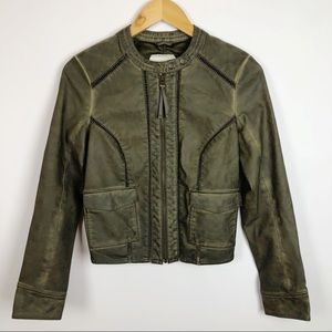 Hei Hei Vegan Leather Quilted Bomber Jacket